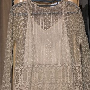 Zara boho embroidered dress Sz M